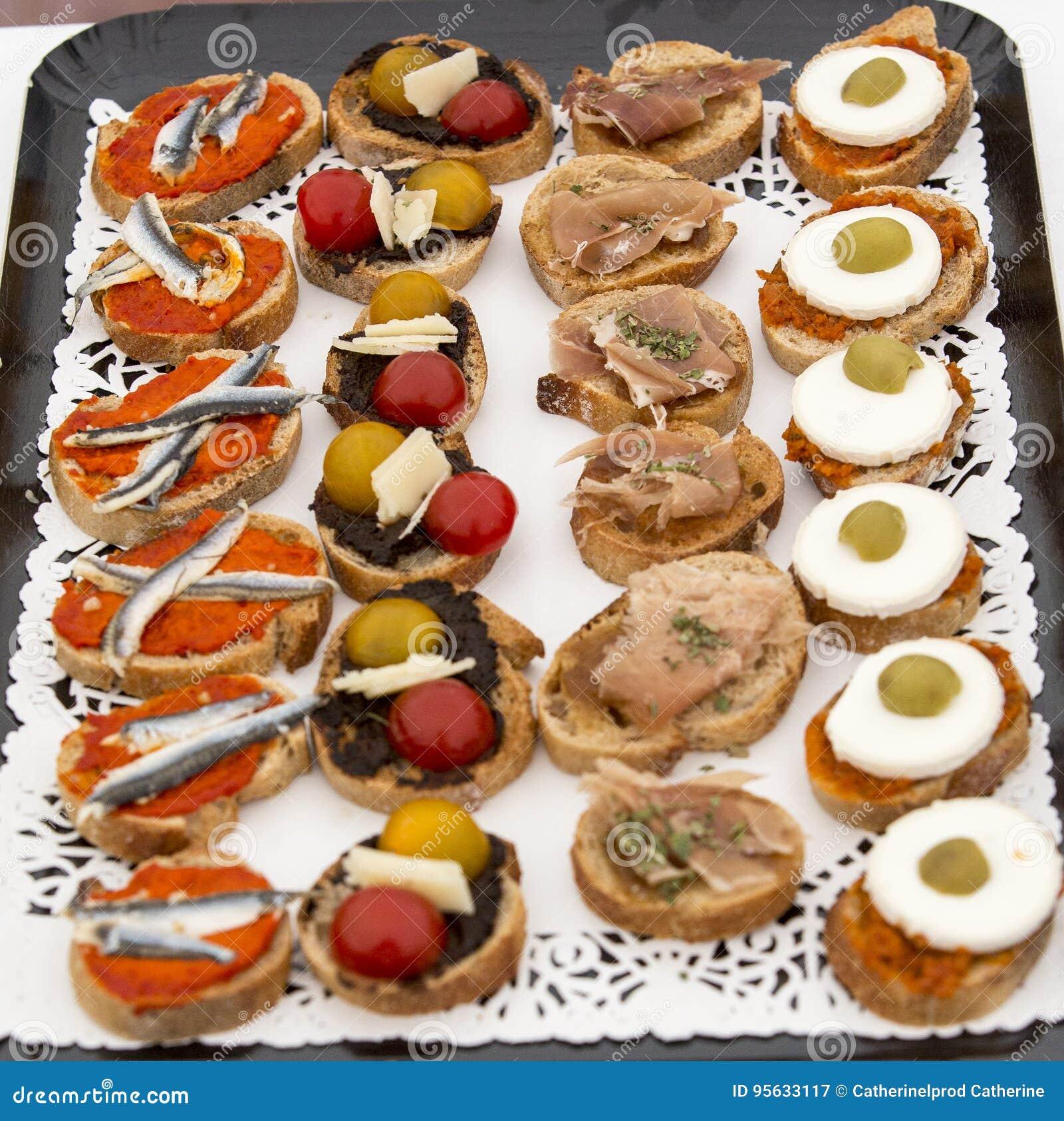 Canapés Apéritifs: Toasts With Pate Stock Photography