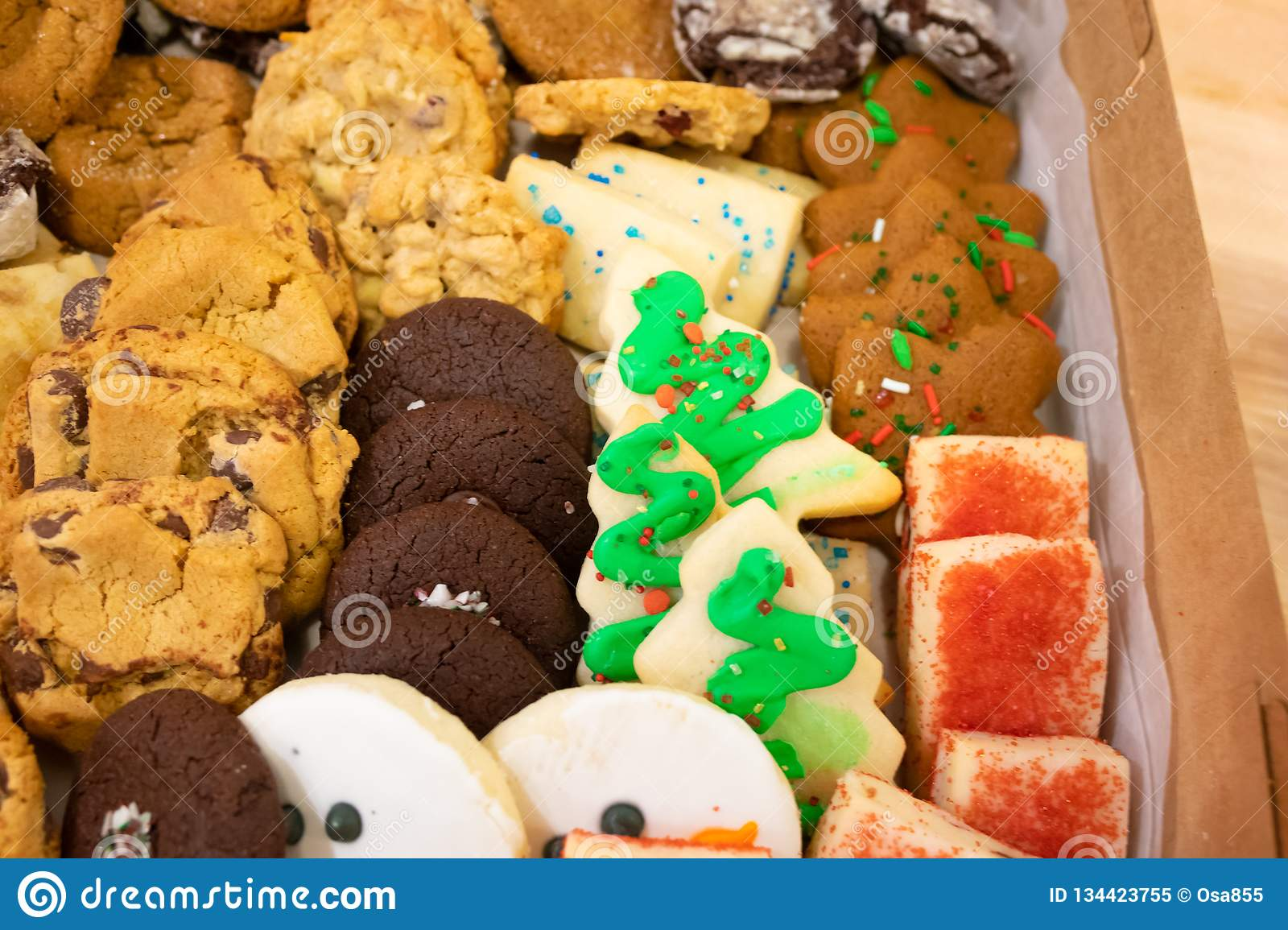 Christmas Cookies Box.Assortment Of Christmas Cookies In A Box Stock Image Image
