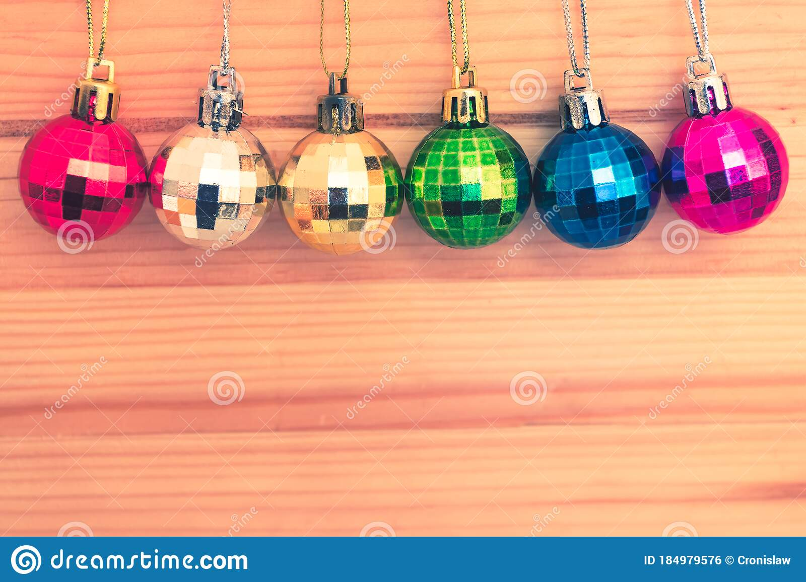 Assortment Of Colorful Christmas Tree Baubles In A Row Stock Photo Image Of Festive Snow 184979576
