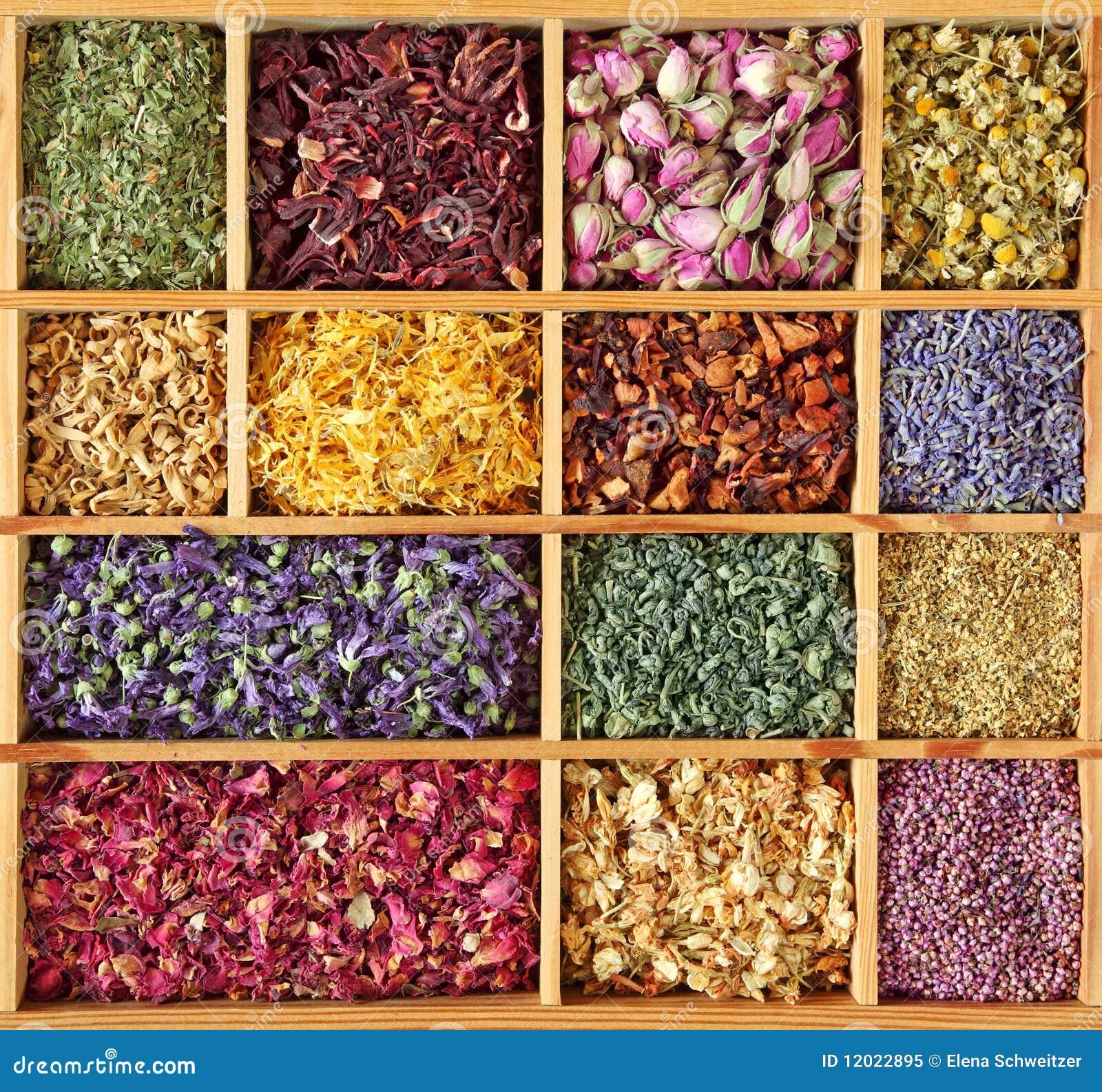 Assortment of dried tea