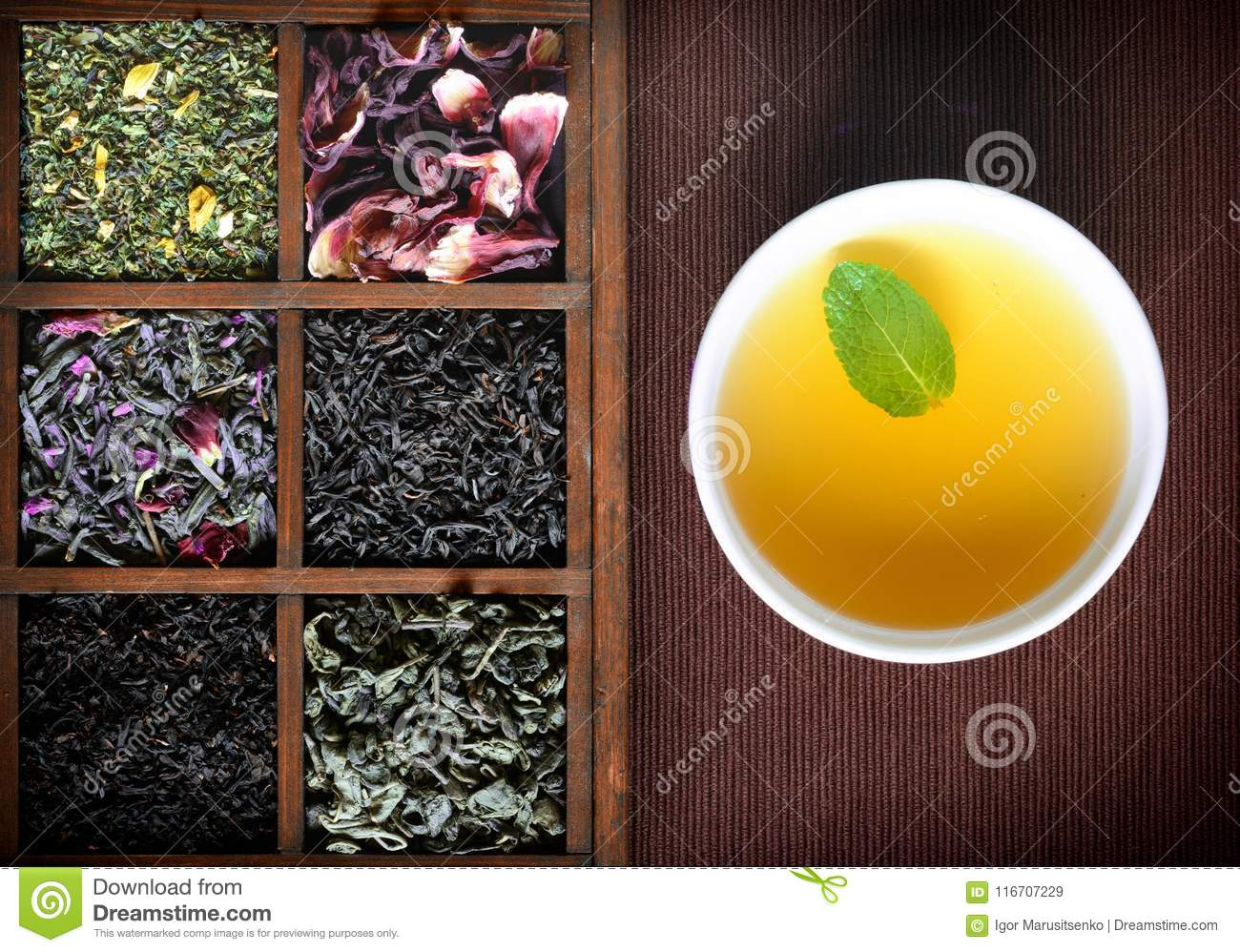 Dry Tea Assortment In Wooden Box With White Cup Stock Image Image