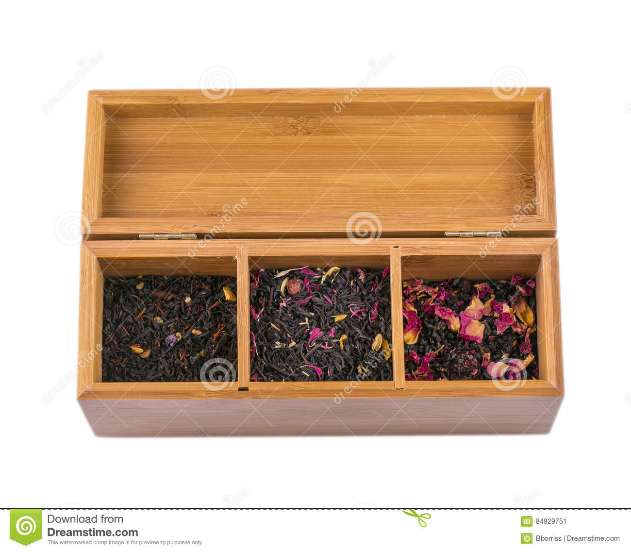 Assortment Of Dry Tea In Wooden Box Isolated On White Stock Image