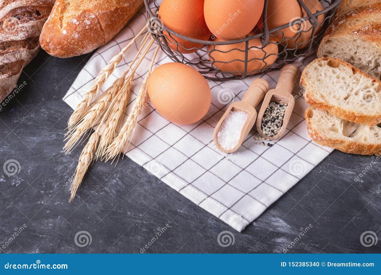 Assortment of fresh bread. Healthy homemade bread.
