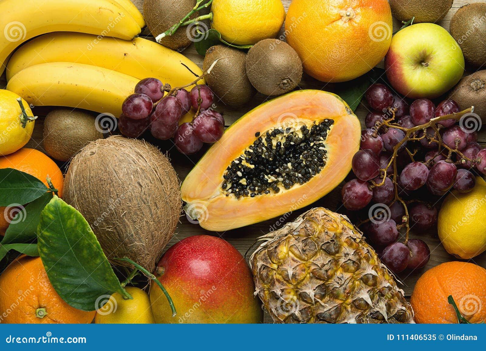 Assortment Of Fresh Tropical And Summer Seasonal Fruits Pineapple Papaya Mango Coconut Oranges Kiwi Bananas Lemons Grapefruit Stock Image Image Of Lemons Green 111406535