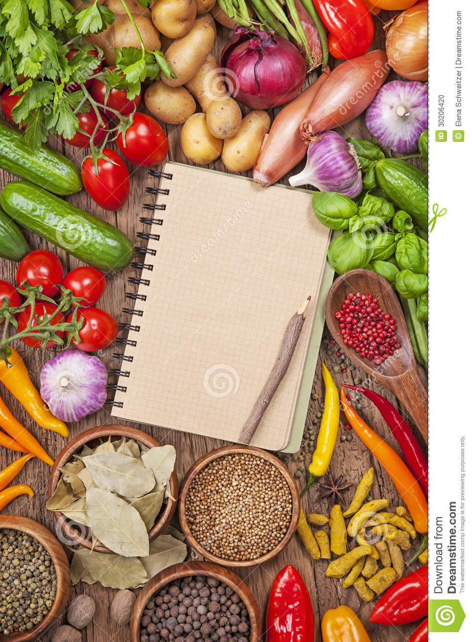 Cookbook Cover Template Free Download : Fresh vegetables and blank recipe book stock photo image
