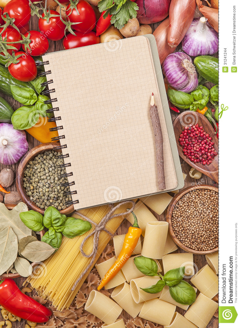 Food Book Cover Template : Assortment of fresh vegetables and blank recipe book stock