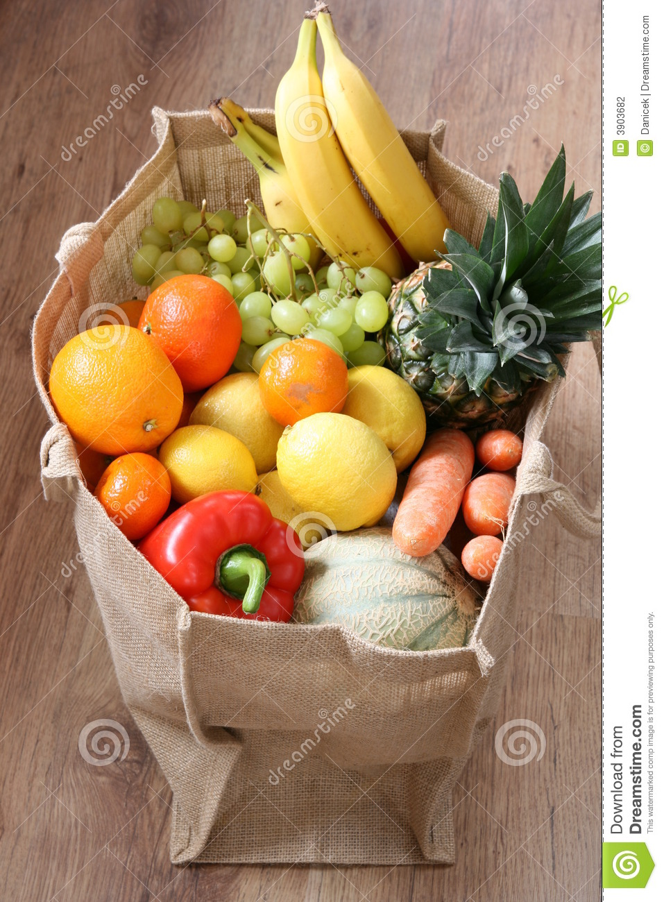 assortment of fruit and vegetable in eco bag stock