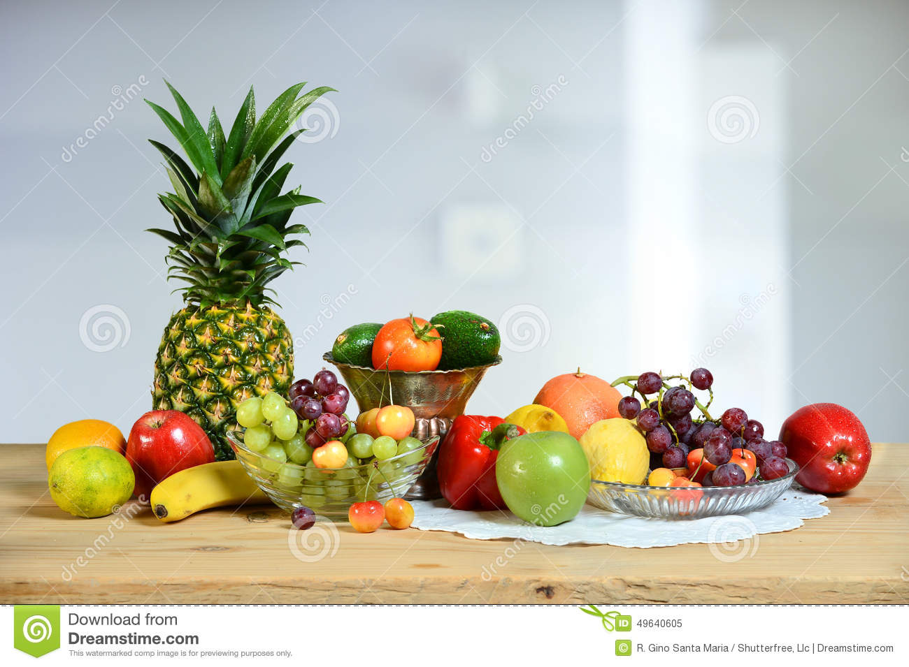 Assortment Of Fruits And Vegetables On Table Stock Image