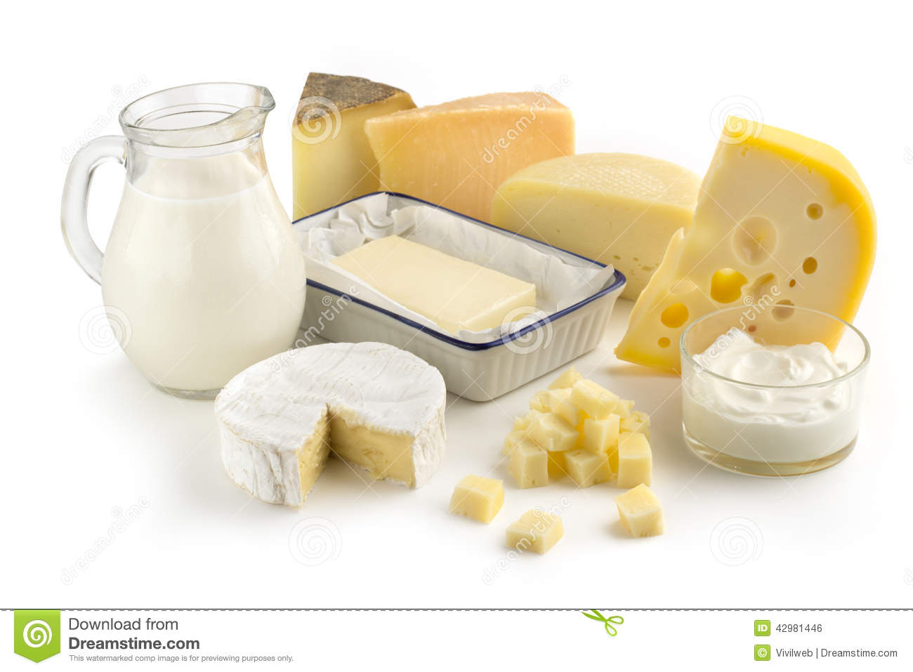 Assortment Of Milk Products Stock Photo - Image of brie ...
