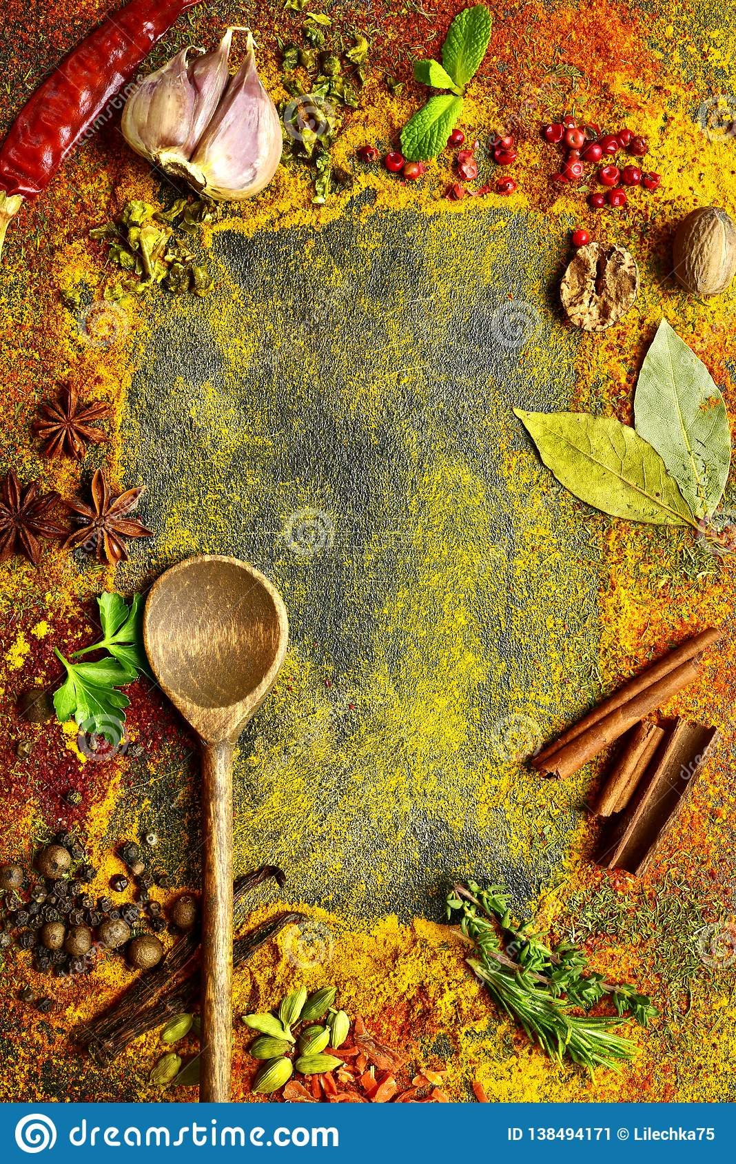 Assortment of natural spices.Top view with copy space