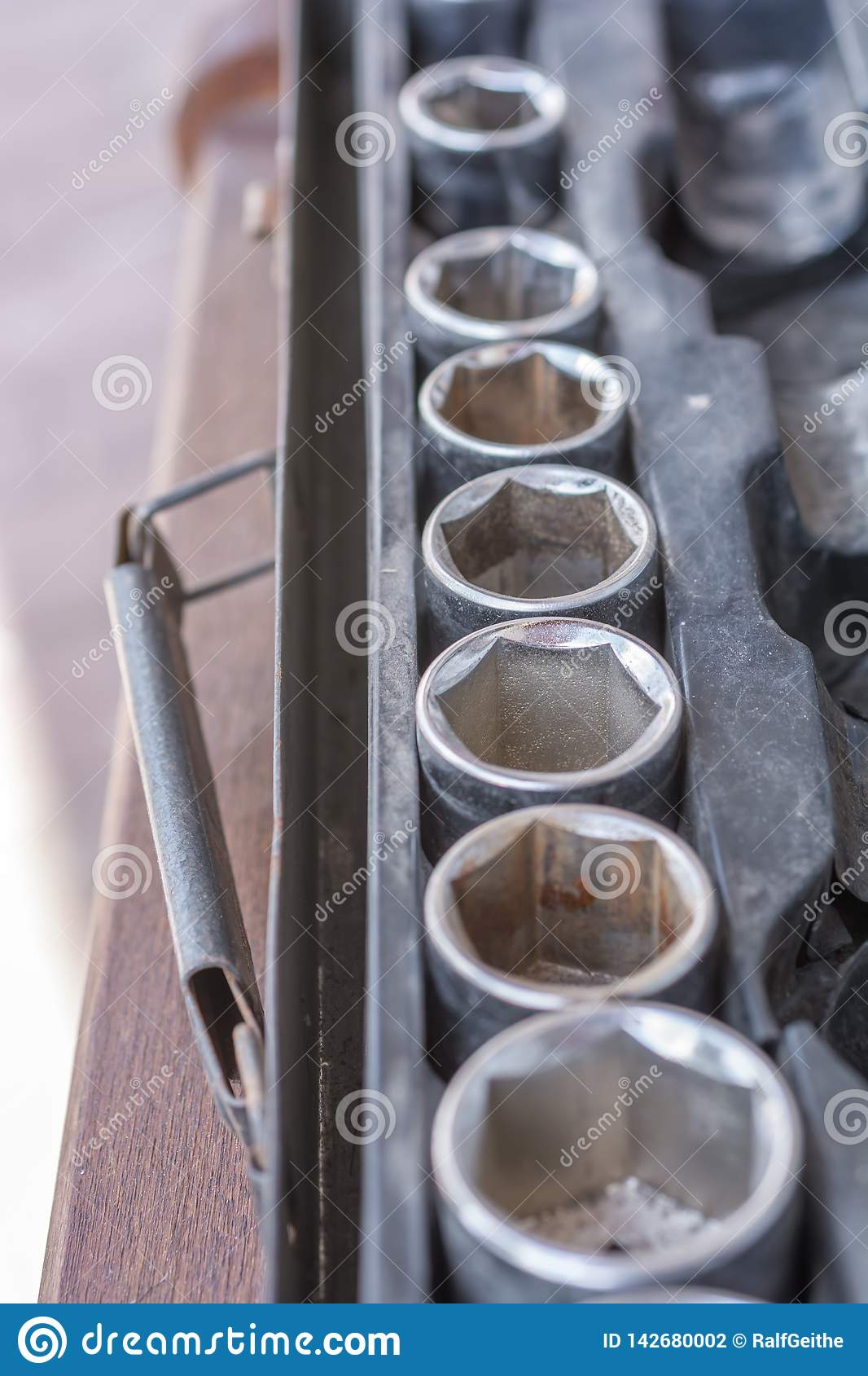 Assortment of nuts in an old socket wrench set