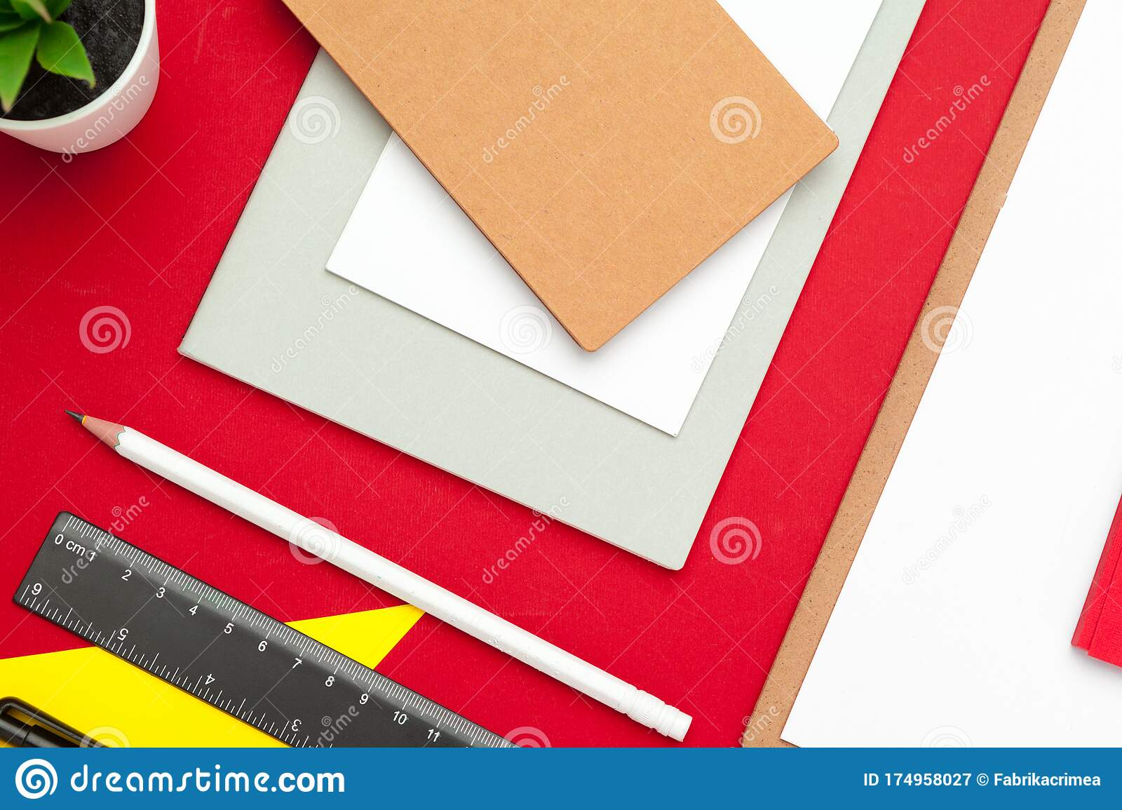 Assortment Of Office Supplies And Technology Accessories Modern Working Table Top View Stock Image Image Of Page Desktop 174958027