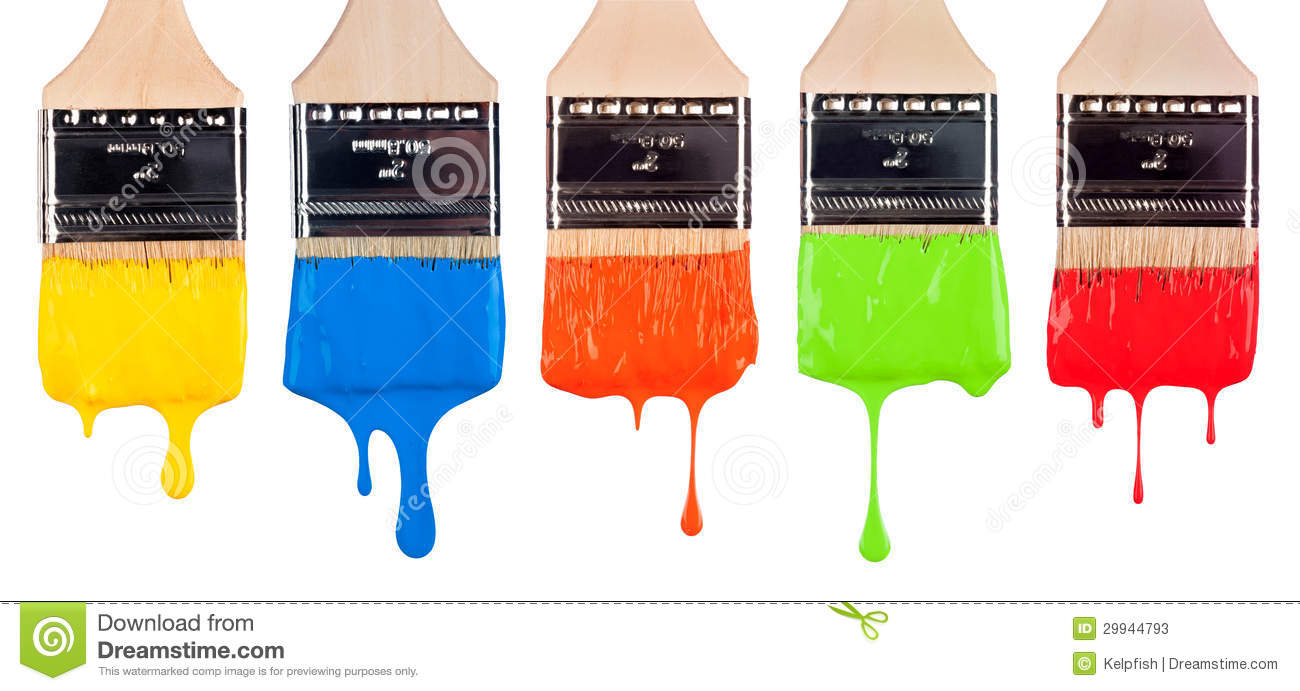 Paint brushes stock image. Image of craft, runny, variety ...