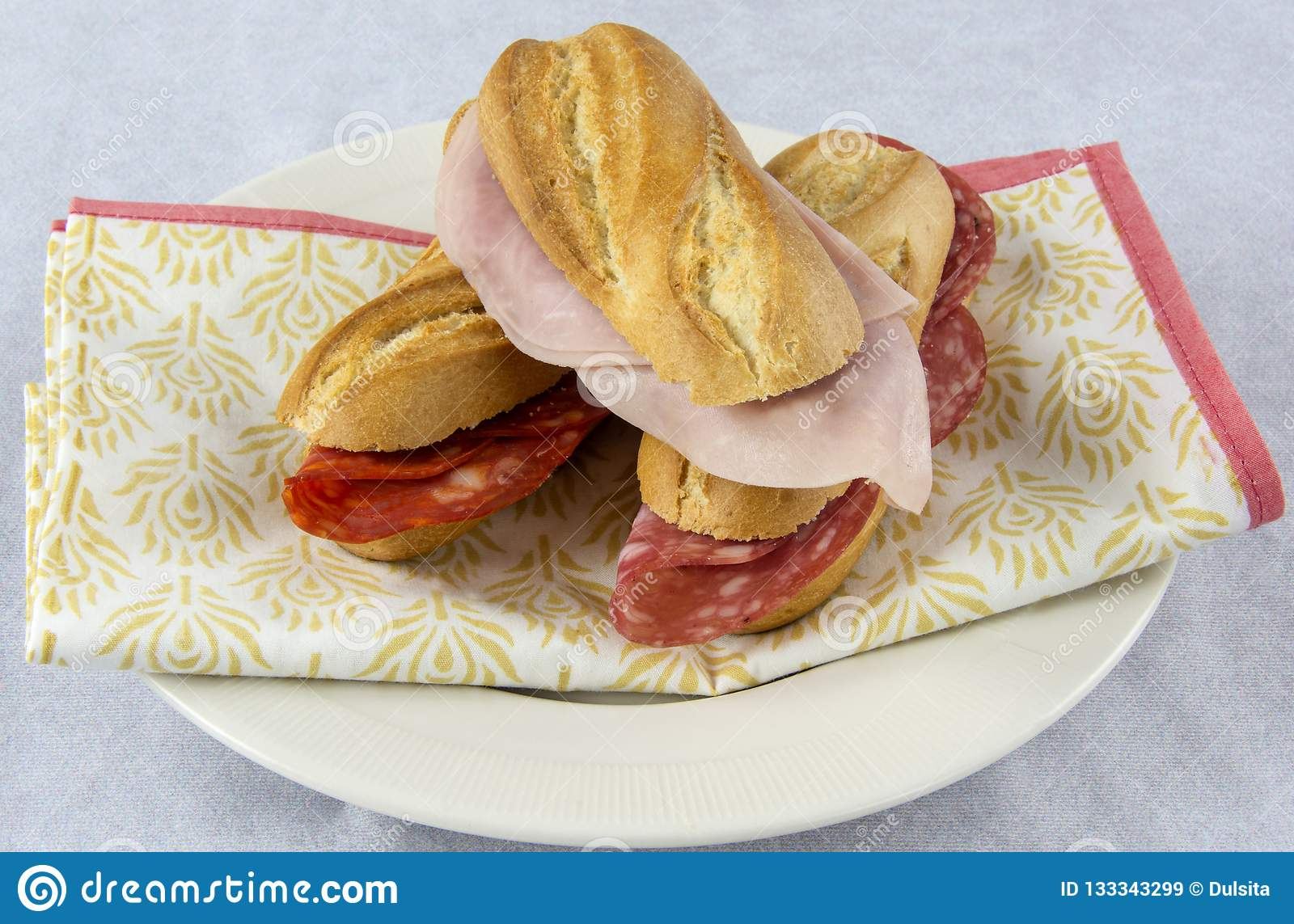 Assortment of sandwiches with sausage