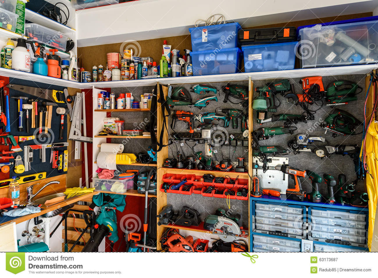 Assortment Of Tools In Tool Shed Workshop Editorial Photography