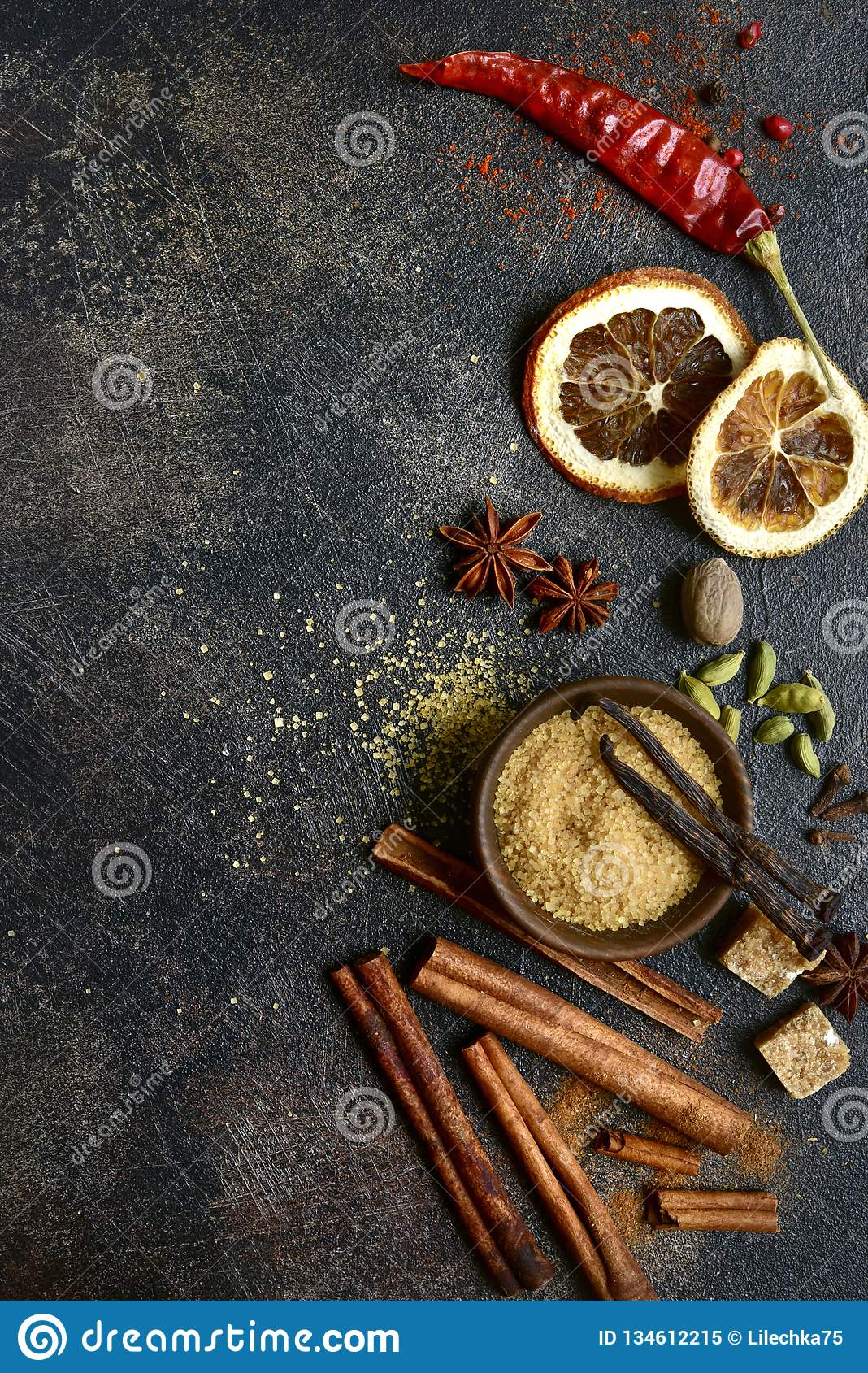 Assortment of winter spices.Top view with copy space
