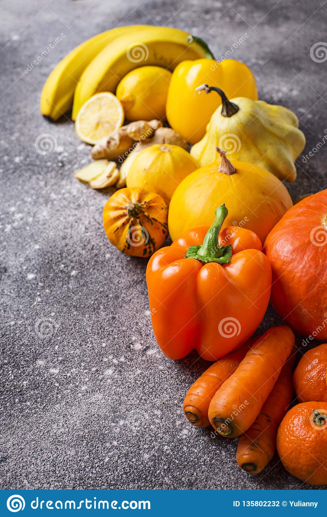 Assortment Of Yellow And Orange Fruits And Vegetables ...