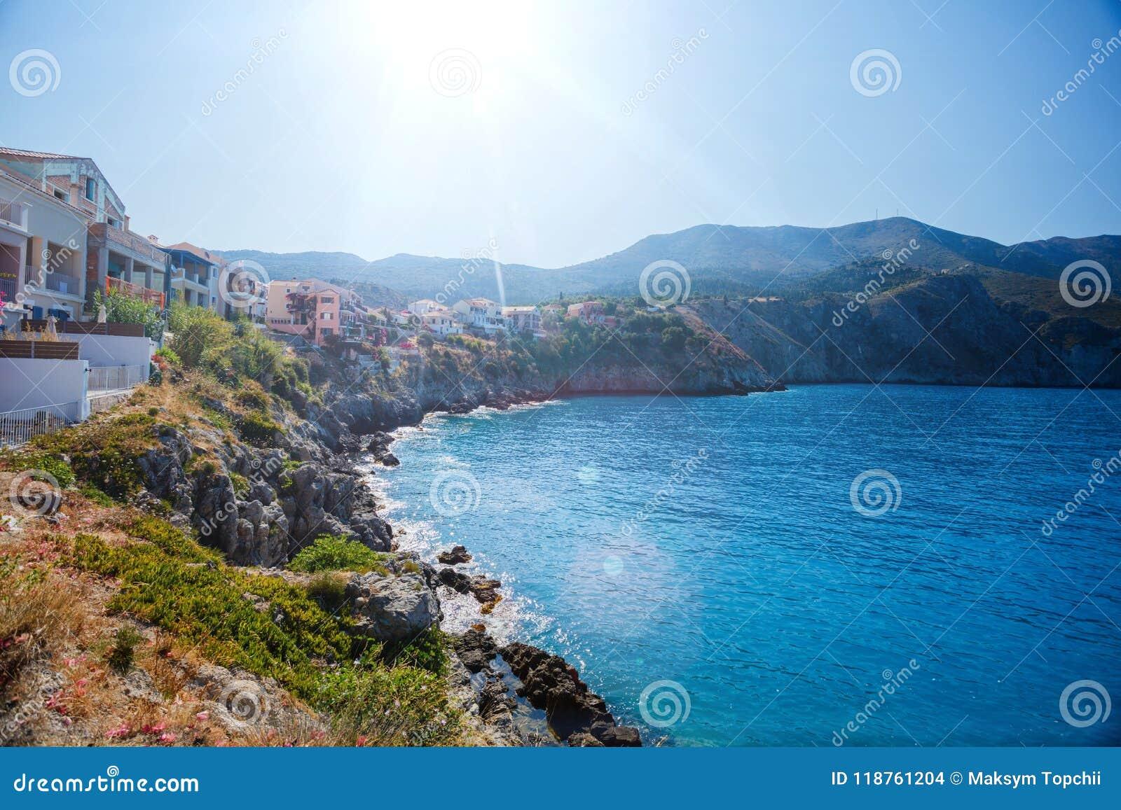 Assos på ön av Kefalonia i Grekland