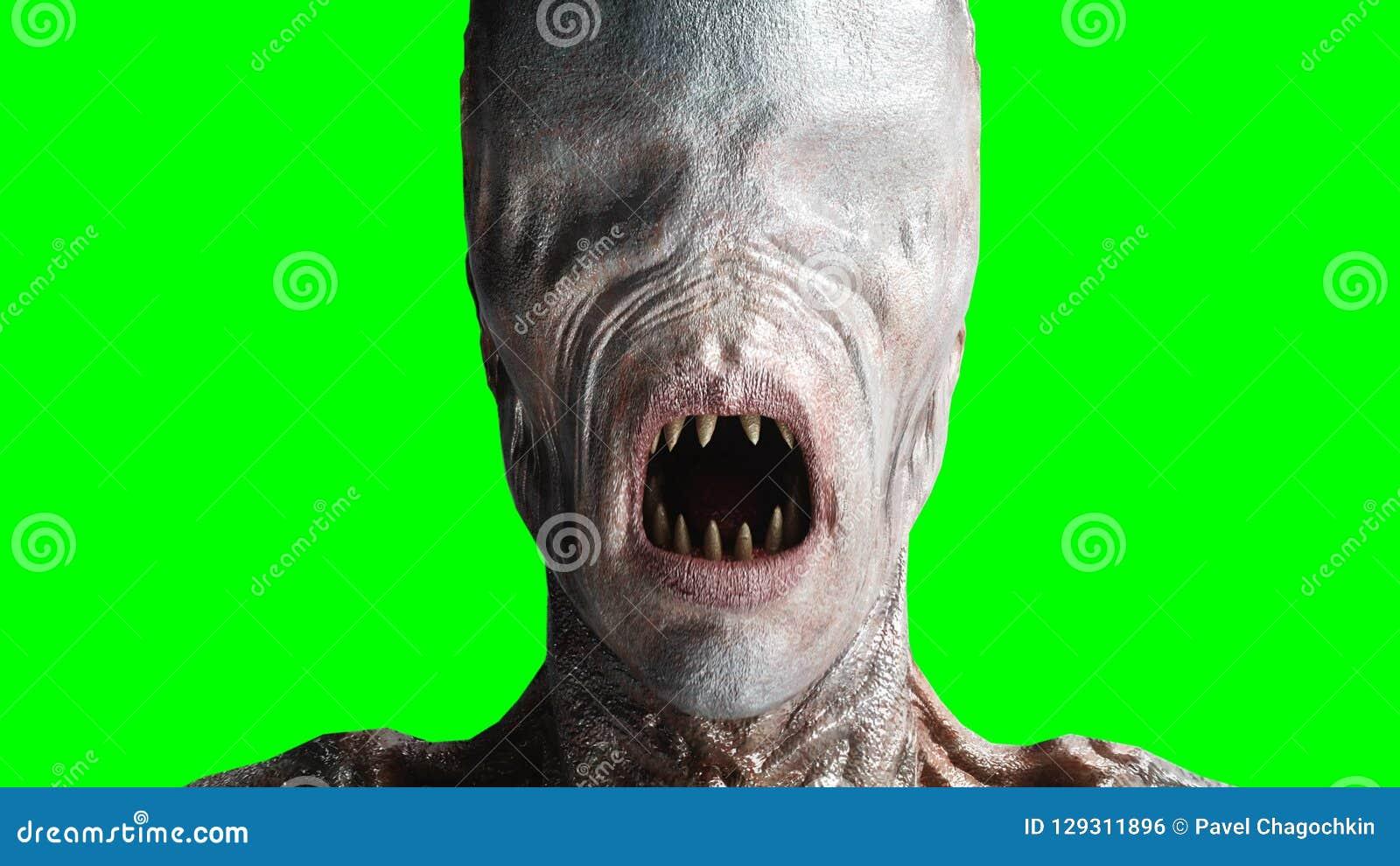 Assustador, monstro do horror Conceito do medo tela verde, isolado rendição 3d