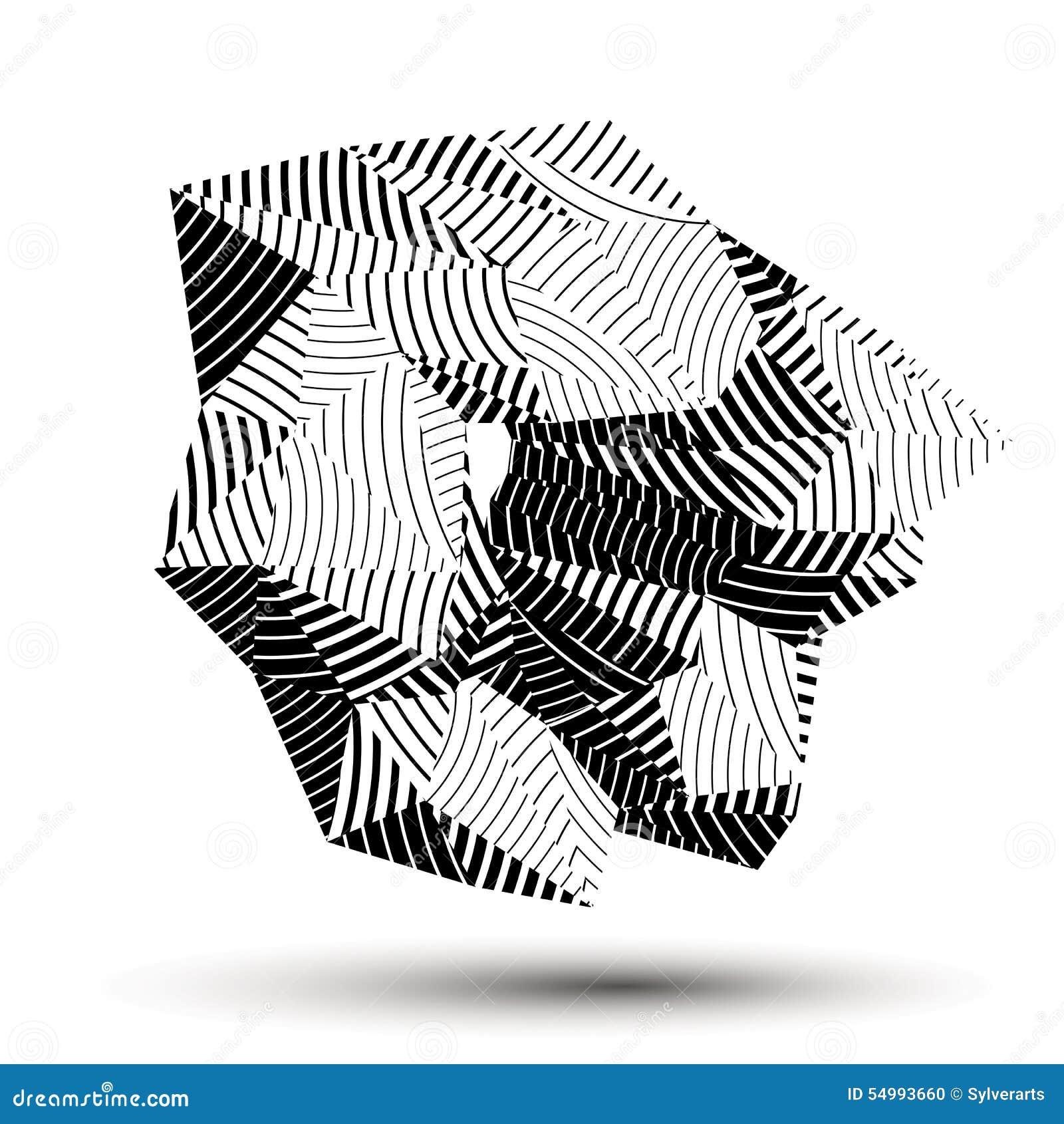 Assymetriskt abstrakt begrepp 3D gjorde randig objekt, geometrisk monokrom