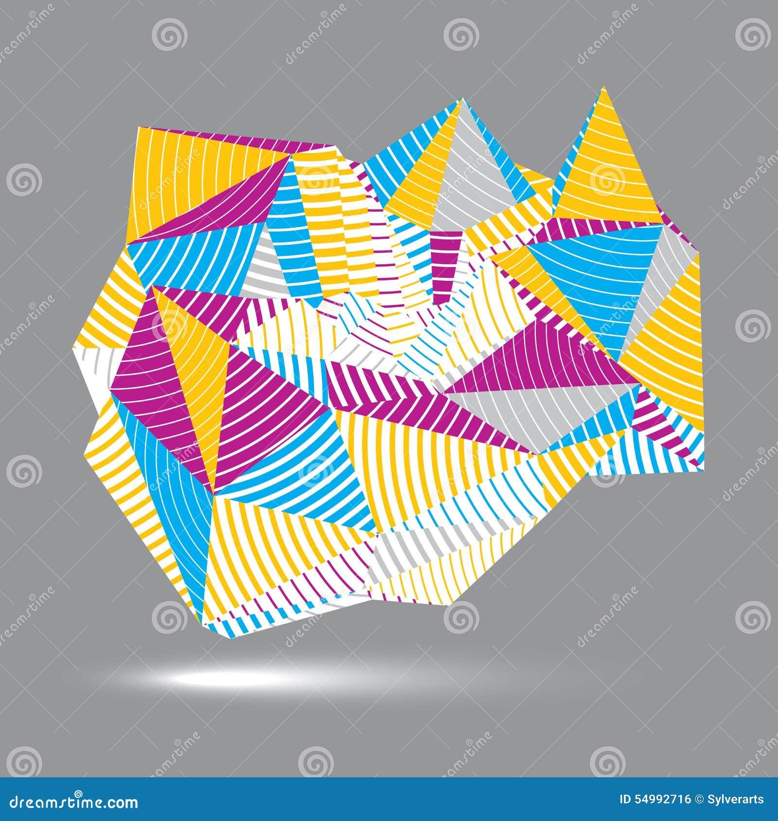 Assymetriskt abstrakt begrepp gjort randig objekt för vektor 3D, färgrikt geometriskt