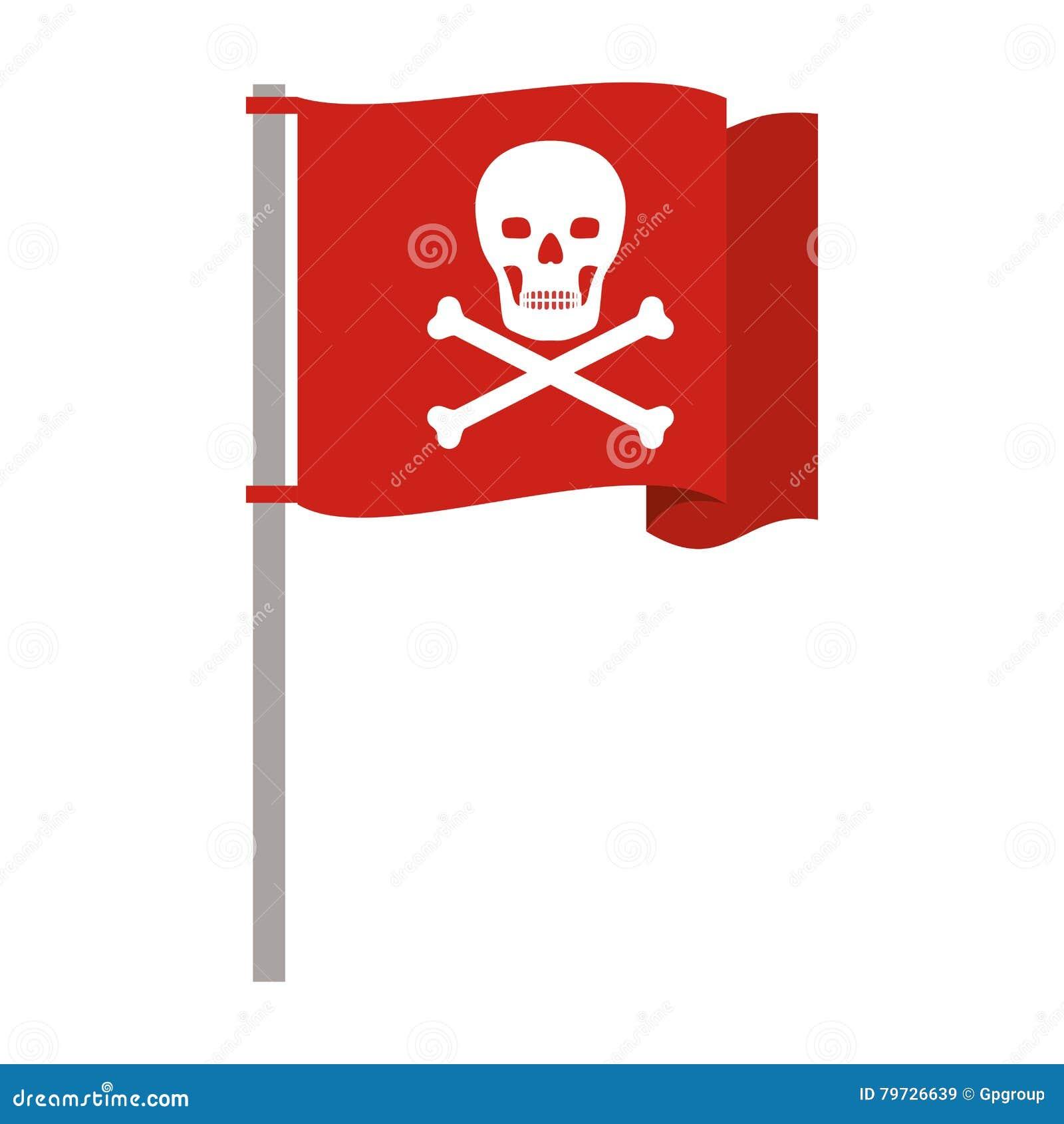 Asta de bandera roja de la silueta con el cráneo y los huesos