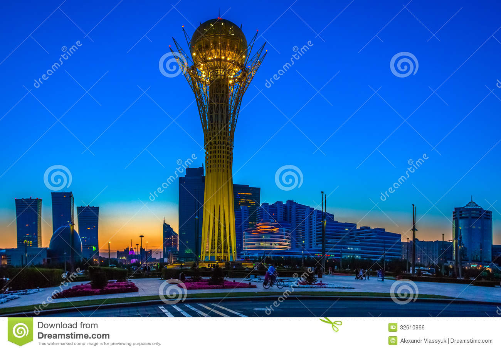 Astana, Kazakhstan - 24 August: The symbol of Kazakhstan Baytirek view of backlit at sunset, August 24, 2012, Astana, Kazakhstan