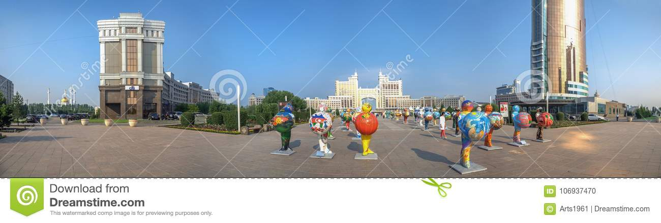 ASTANA, KAZAKHSTAN - JULY 2, 2016: Morning panorama with plastic figures