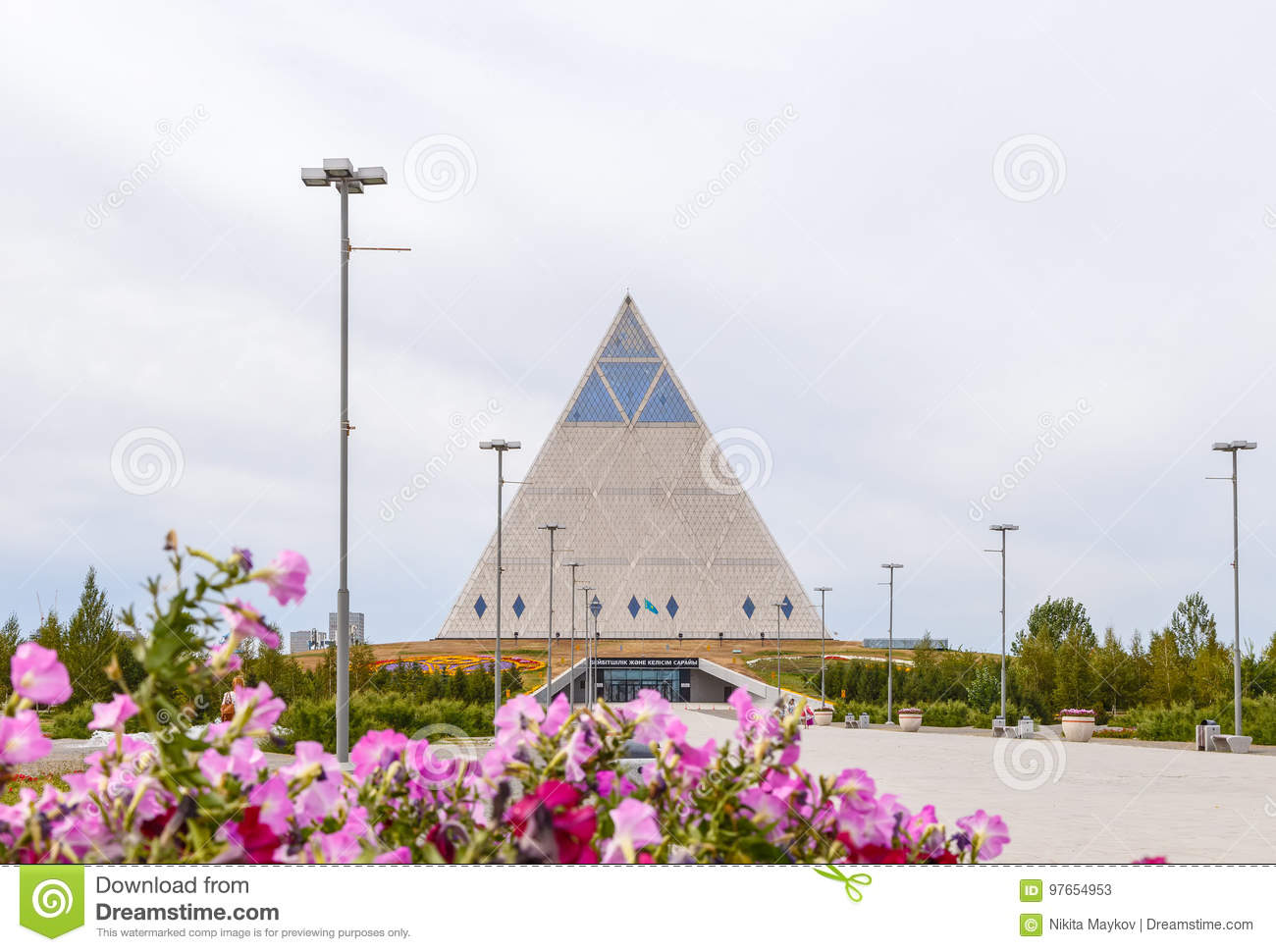 Astana, Kazakhstan - September 3, 2016: Palace of Peace and Reconciliation on the background of clouds