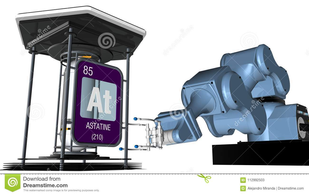 Astatine symbol in square shape with metallic edge in front of a mechanical arm that will hold a chemical container. 3D render.