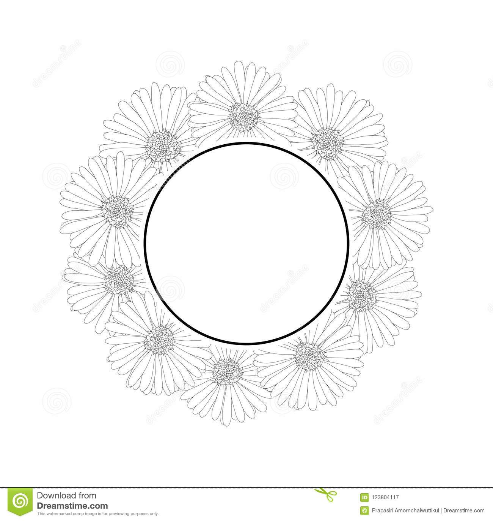 Aster Daisy Flower Outline Banner Wreath Vector Illustration Stock