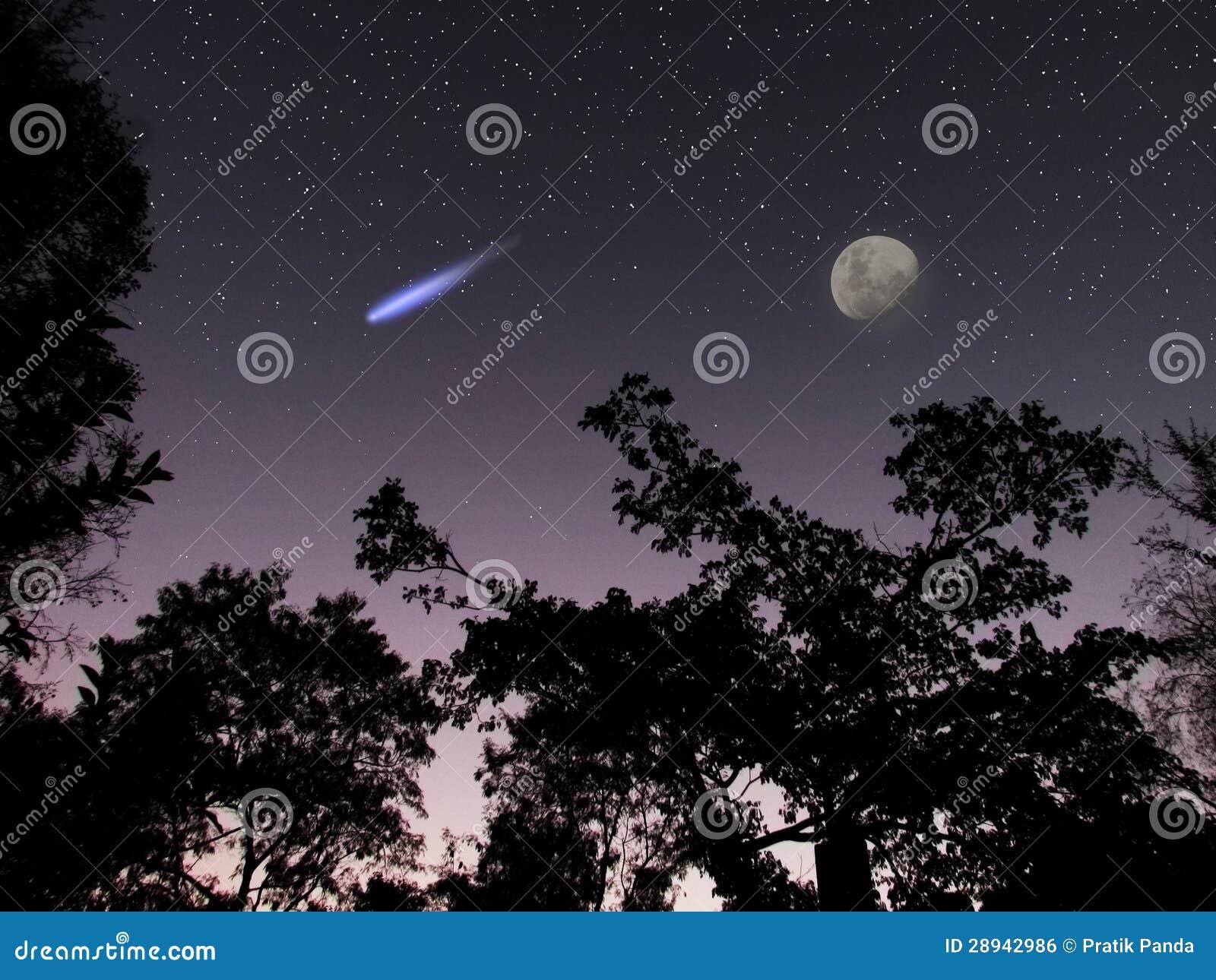 Asteroïde ou comète DA14 dans la scène de ciel nocturne