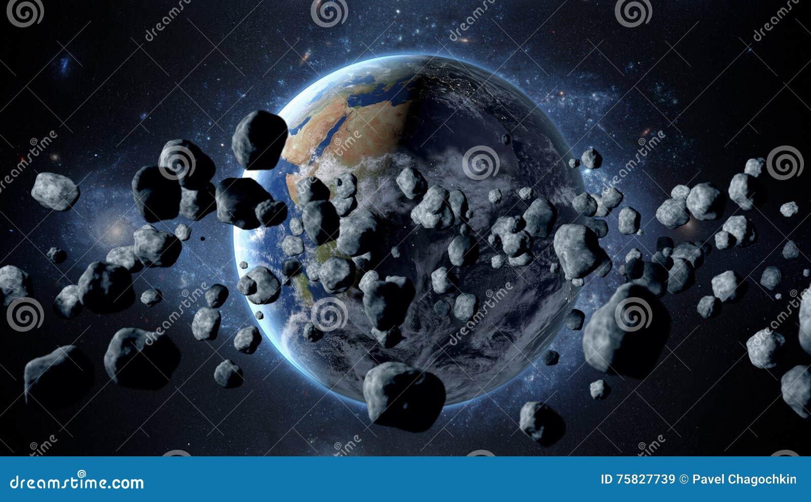 Asteroïde volant, météorite à la terre Espace extra-atmosphérique armageddon rendu 3d