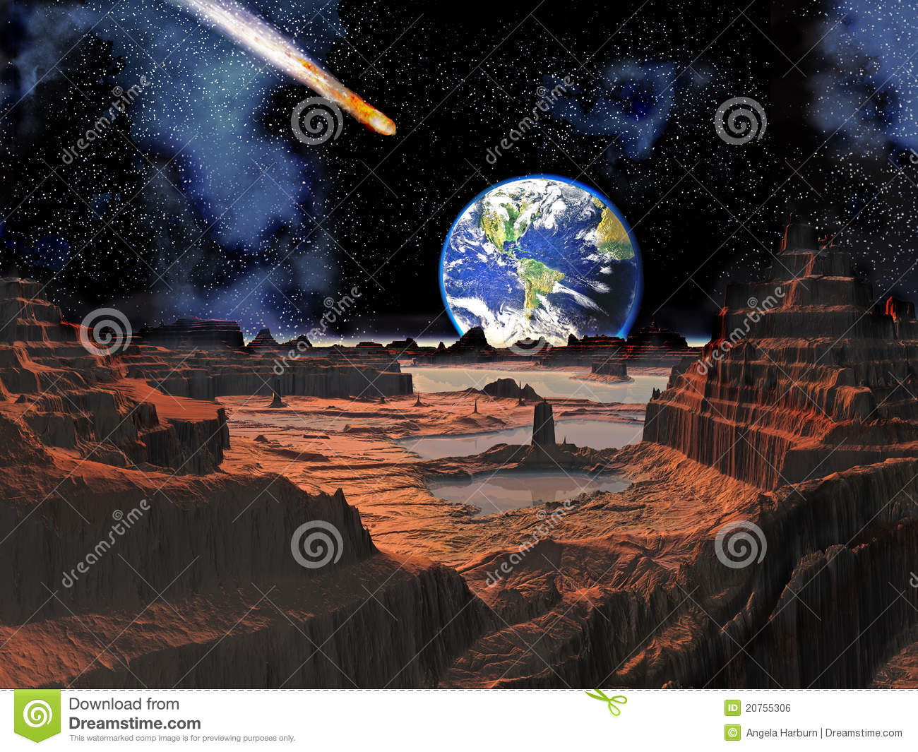 Asteroid Collision With Earth Viewed From Moon Royalty ...