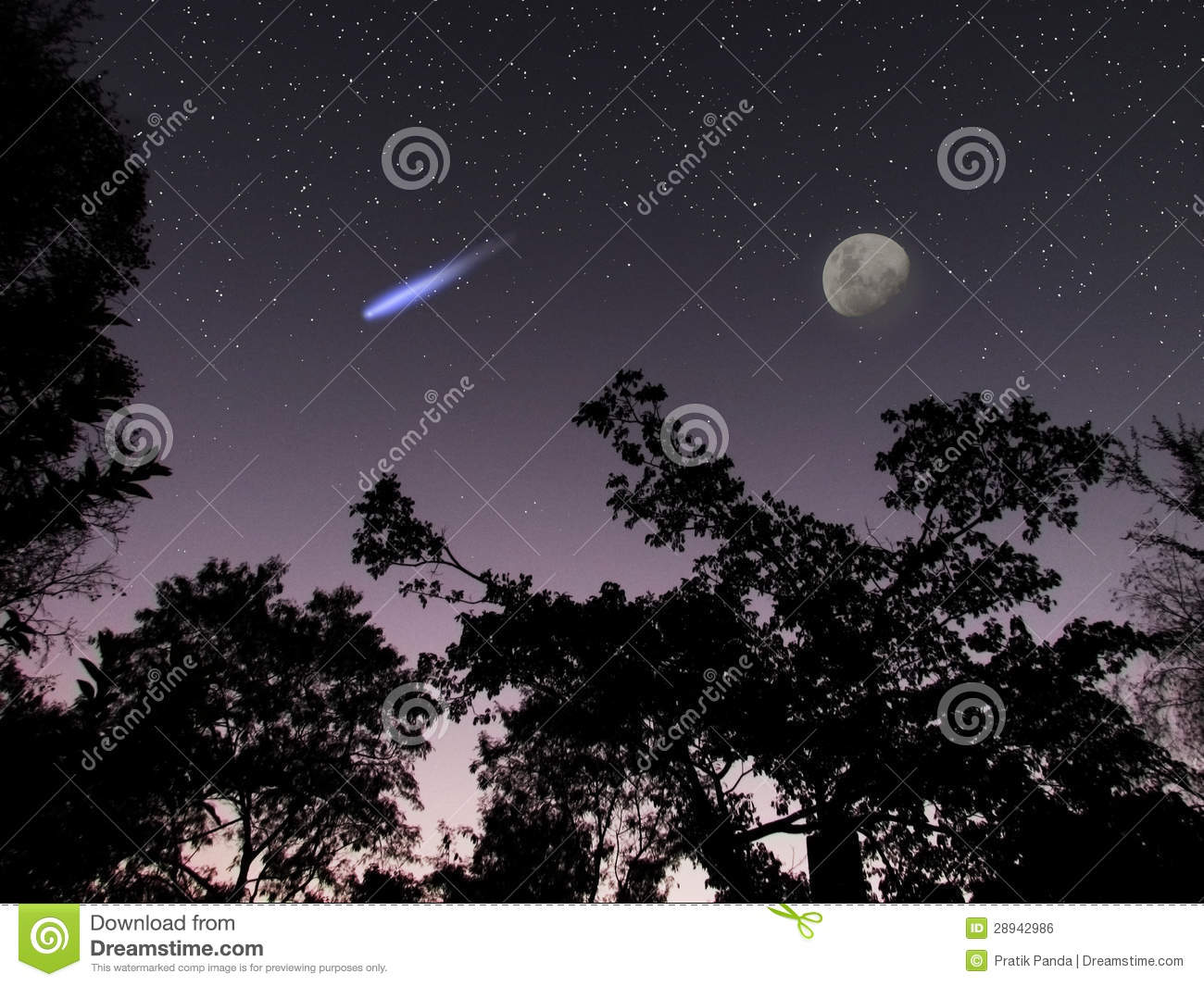 Asteroid or comet DA14 in the night sky scene