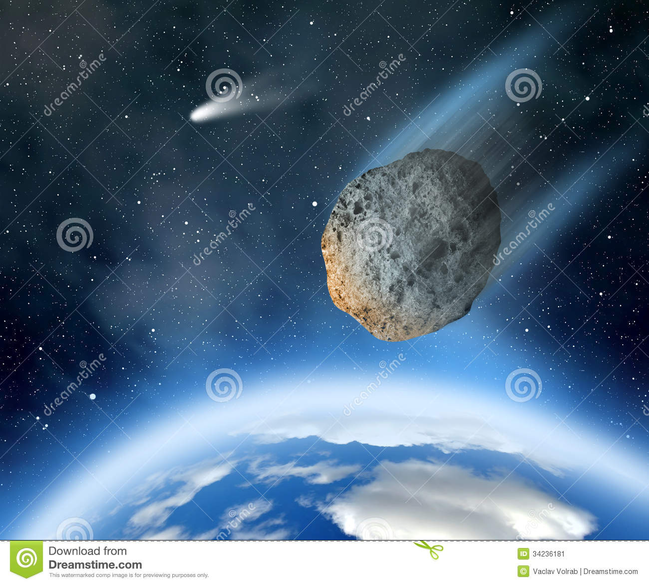 Asteroid Falling On Earth Stock Image - Image: 34236181