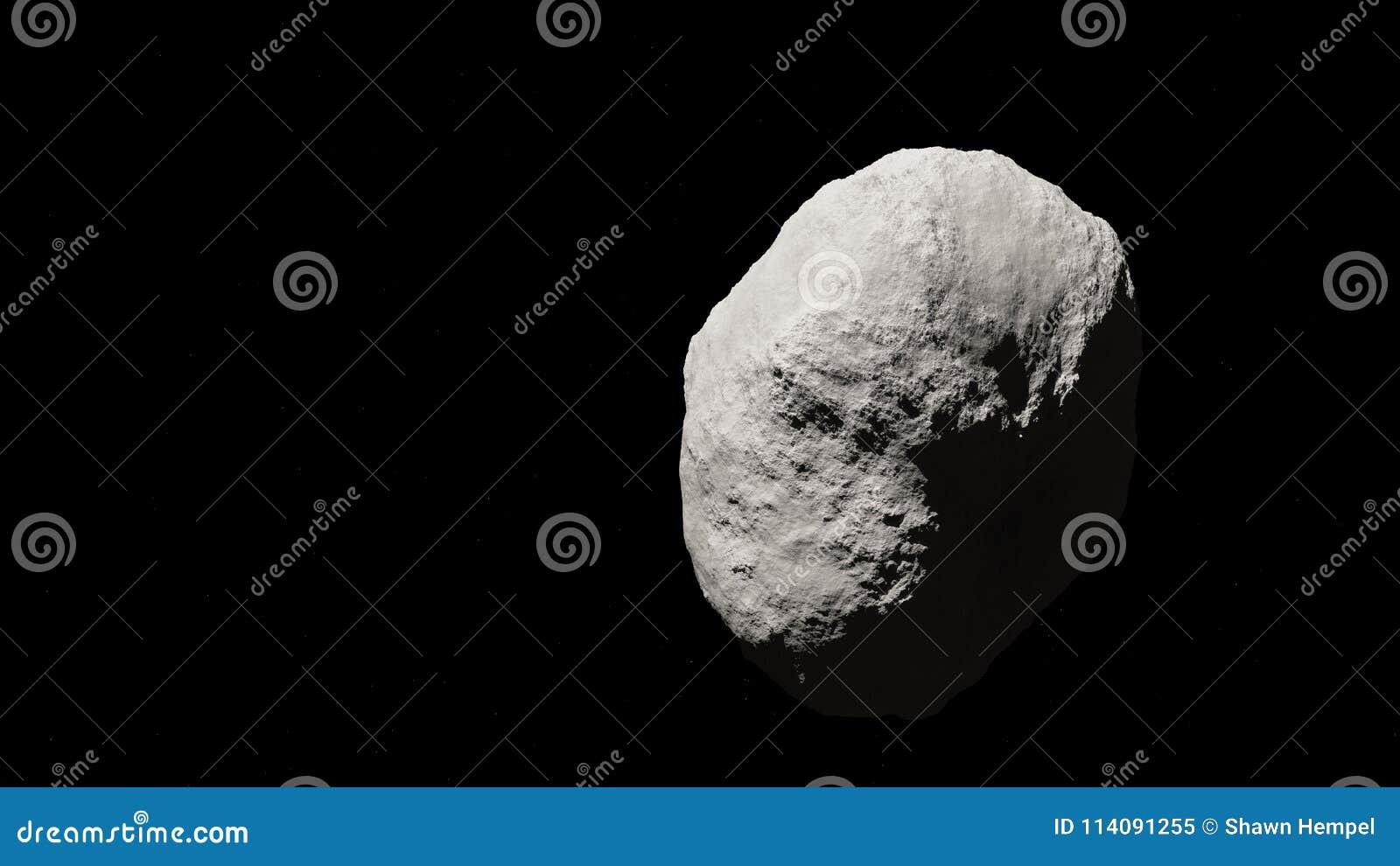 Asteroide enorme nello spazio con il fondo della stella