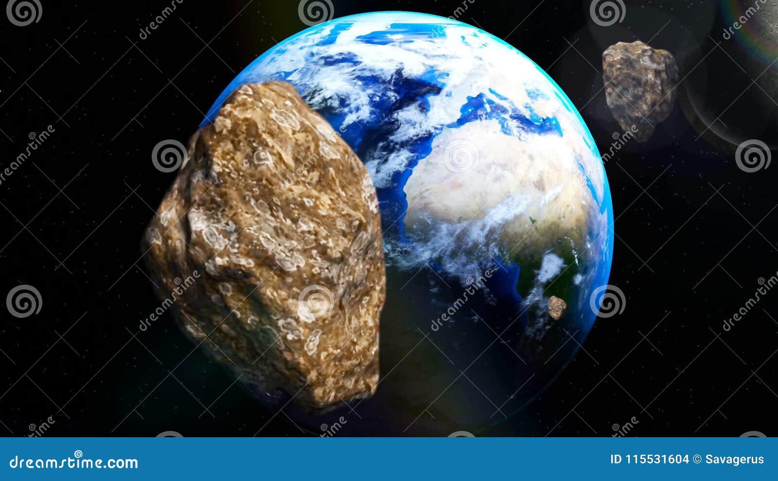 Asteroides que vienen cerca de la tierra de espacio profundo