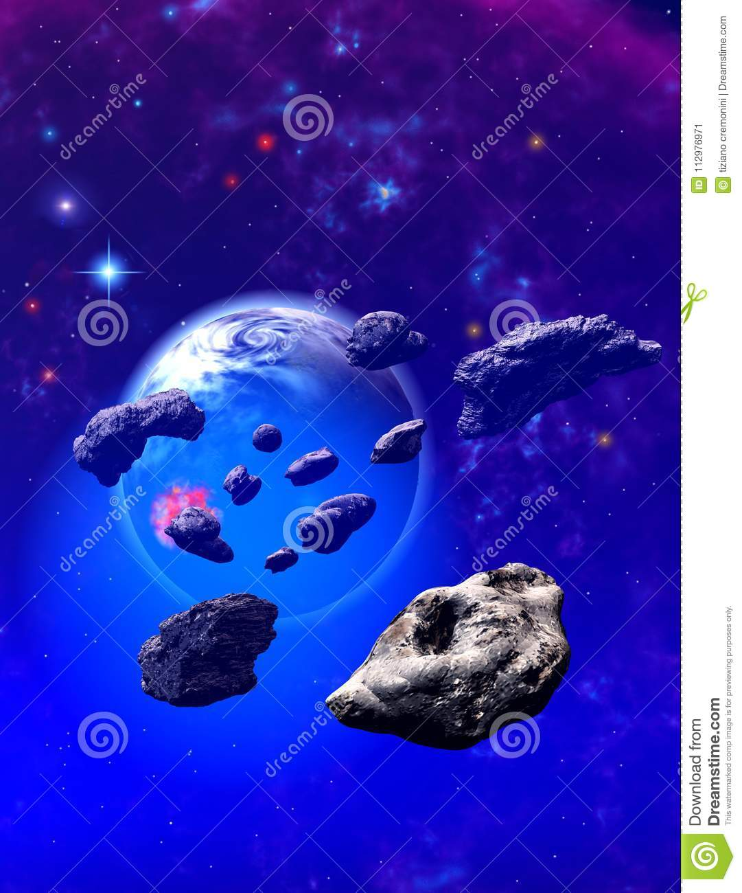 Asteroids around an alien blue planet
