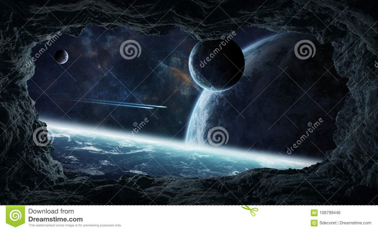 Asteroids flying close to planets 3D rendering elements of this