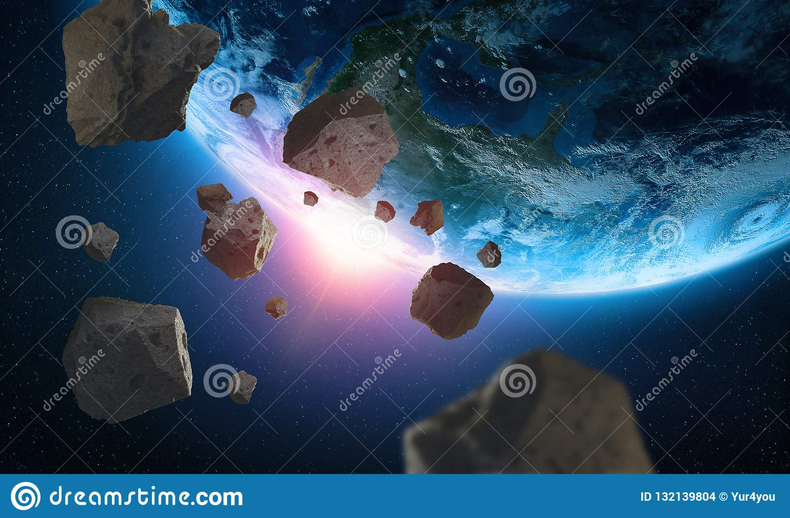 Asteroids near the planet Earth. A view of the globe from space
