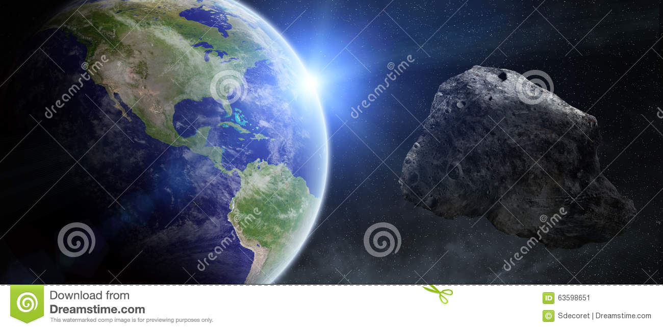 Asteroids Threat Over Planet Earth Stock Illustration ...