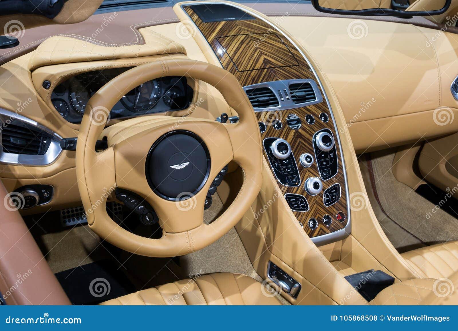 Aston Martin Vanquish Volante Car Dashboard Interior Editorial Stock