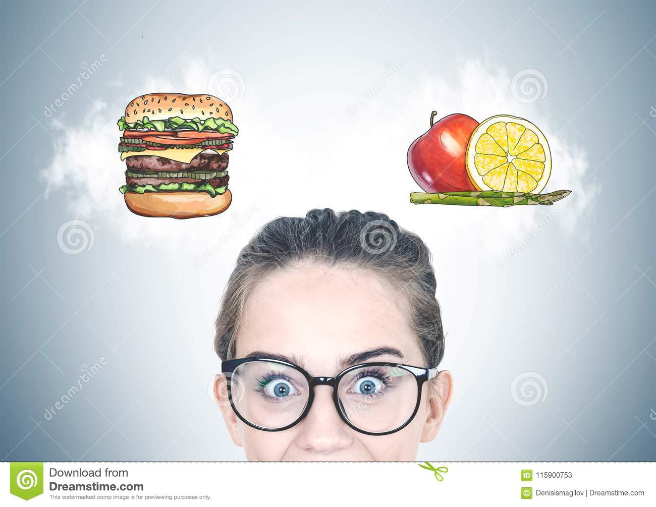 Astonished teen girl in glasses, food choice