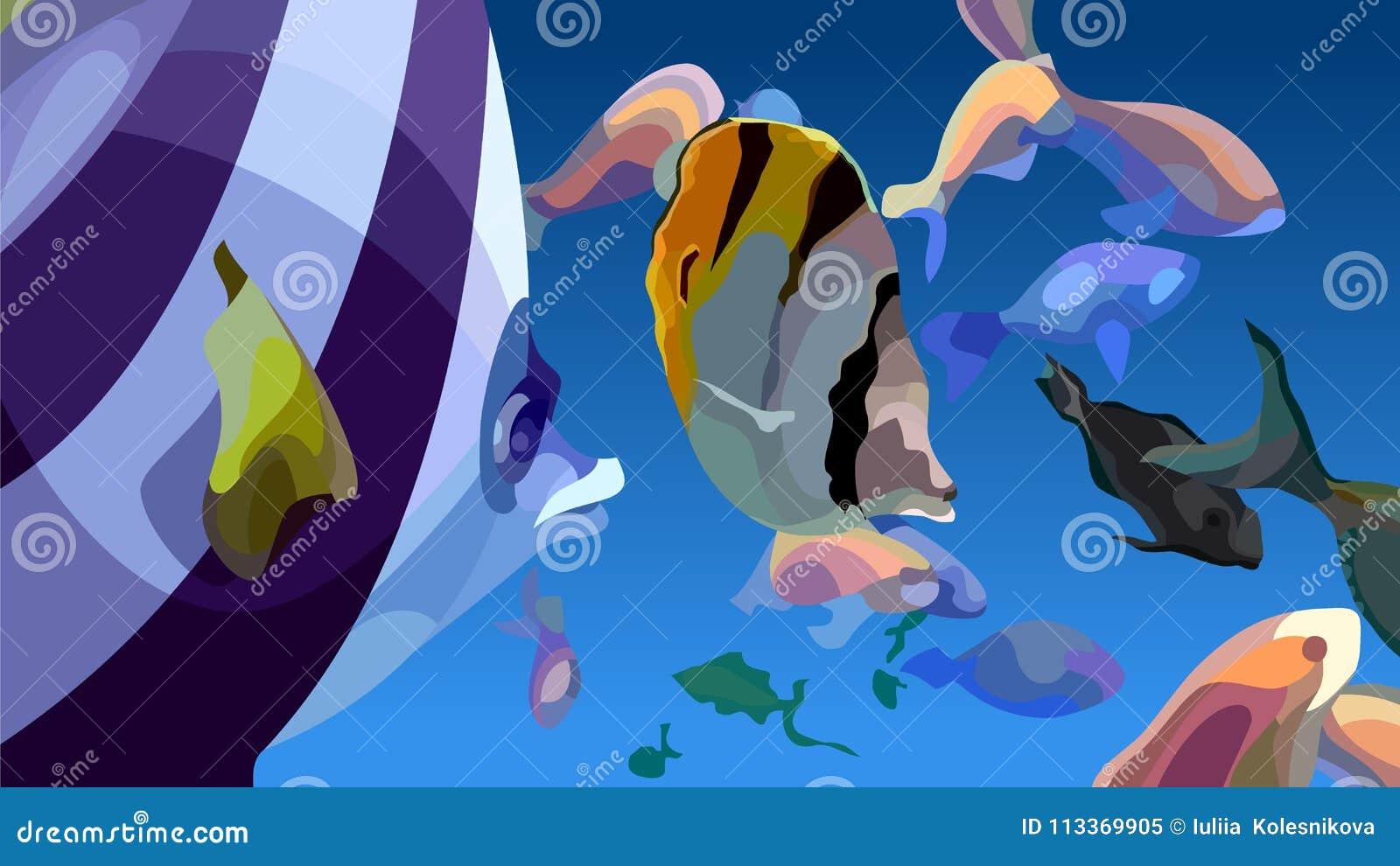 Astrazione dipinta di fare galleggiare i pesci tropicali multicolori