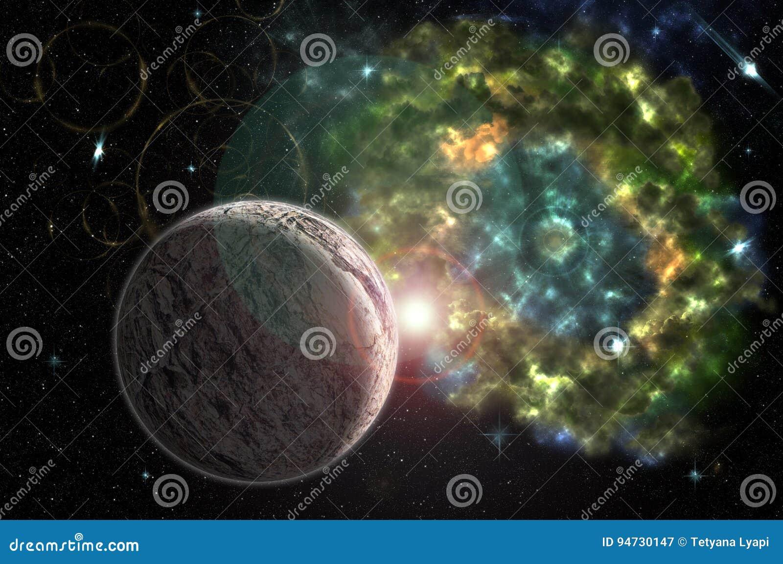 Astrazione, fondo cosmico e colourful per i materiali illustrativi di progettazione