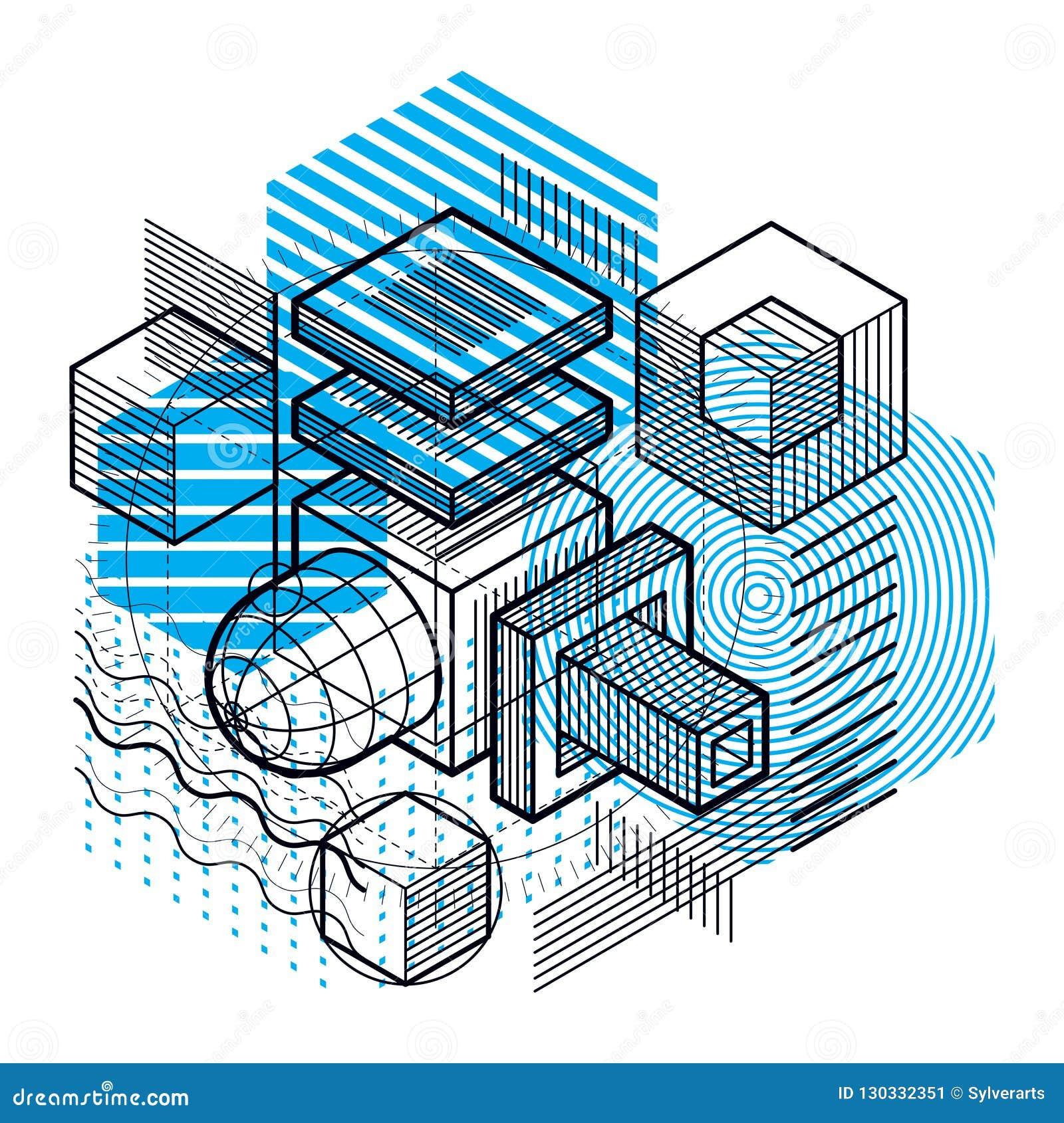 Astrazione isometrica con le linee e gli elementi differenti, vettore