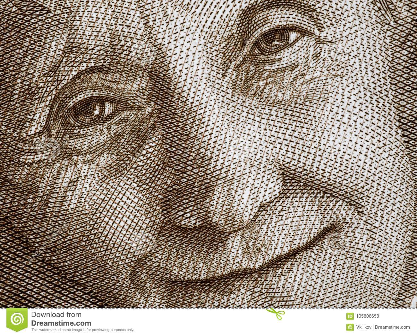 Astrid Lindgren stående på Sverige 20 krona sedelclos 2015
