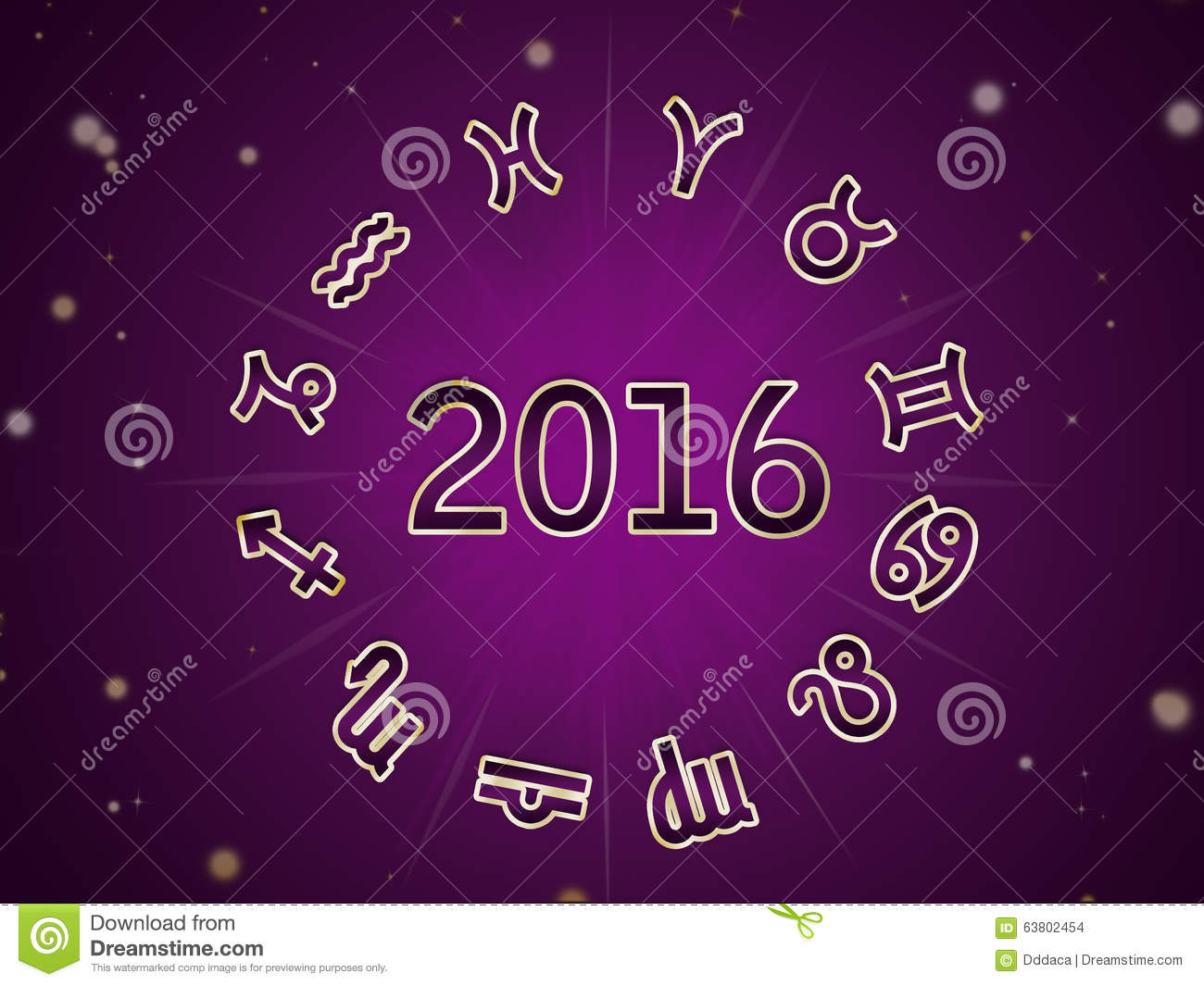 Astro Natal Chart Zodiac Circle 2016 Stock Illustration