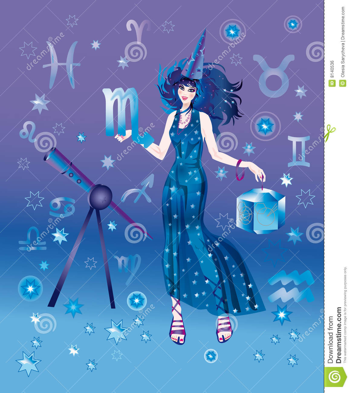 Astrologer with sign of zodiac of Scorpio